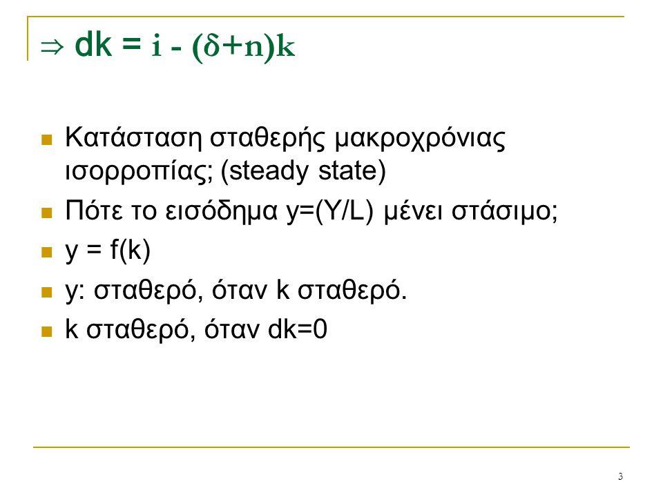⇒ dk = i - (δ+n)k Κατάσταση σταθερής μακροχρόνιας ισορροπίας; (steady state) Πότε το εισόδημα y=(Y/L) μένει στάσιμο;