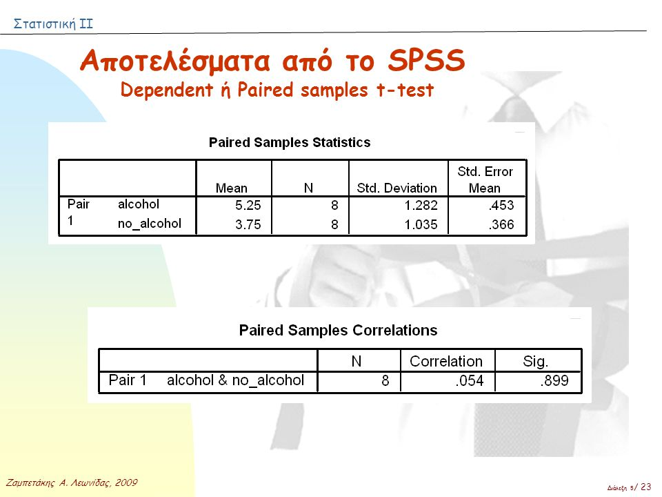 Dependent ή Paired samples t-test