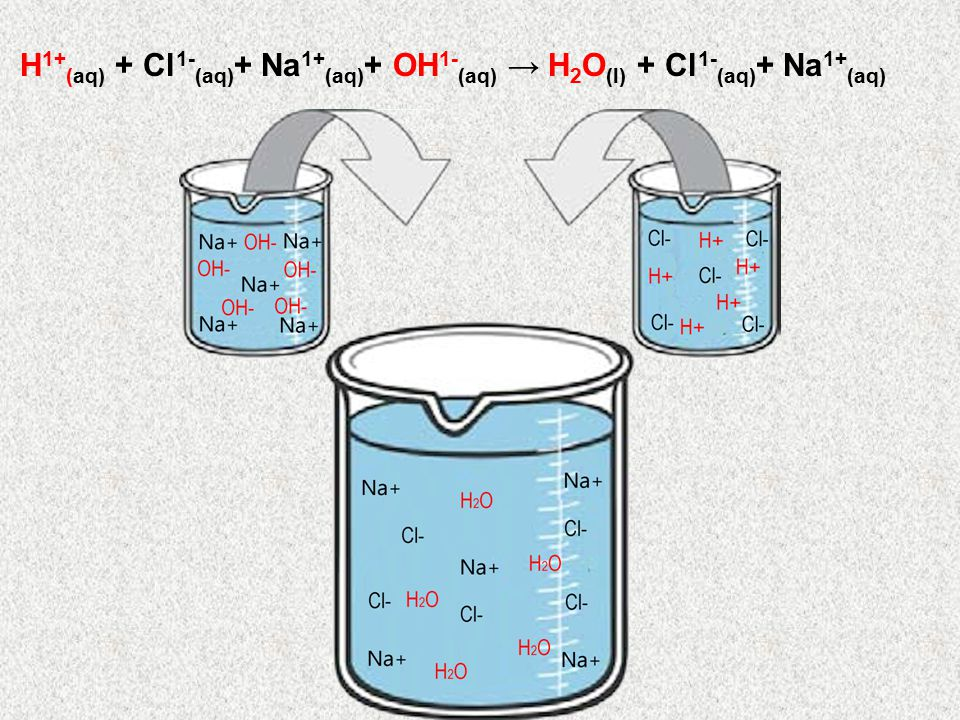 H1+(aq) + Cl1-(aq)+ Na1+(aq)+ OH1-(aq) → H2O(l) + Cl1-(aq)+ Na1+(aq)