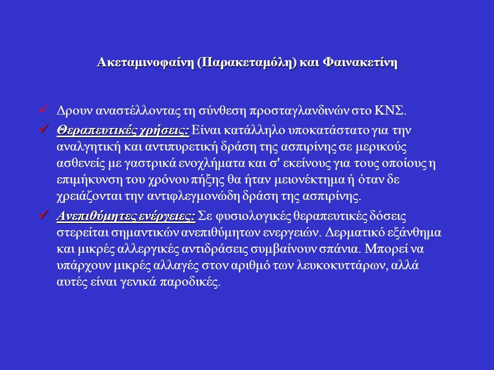 Ακεταμινοφαίνη (Παρακεταμόλη) και Φαινακετίνη