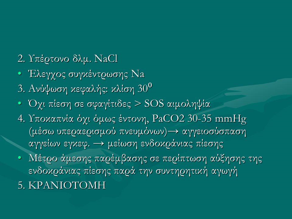 2. Υπέρτονο δλμ. NaCl Έλεγχος συγκέντρωσης Na. 3. Ανύψωση κεφαλής: κλίση 30⁰. Όχι πίεση σε σφαγίτιδες > SOS αιμοληψία.