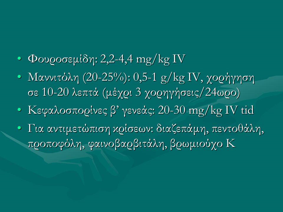 Φουροσεμίδη: 2,2-4,4 mg/kg IV