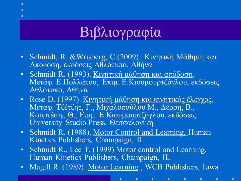 Βιβλιογραφία Schmidt, R. &Wrisberg, C.(2009). Κινητική Μάθηση και Απόδοση, εκδόσεις Αθλότυπο, Αθήνα.