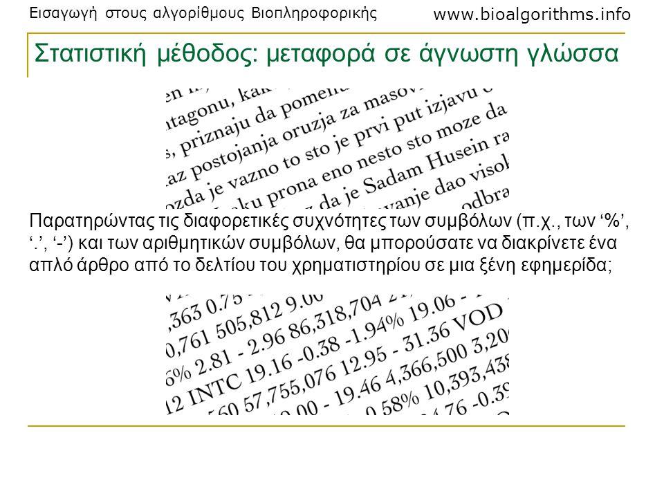 Στατιστική μέθοδος: μεταφορά σε άγνωστη γλώσσα
