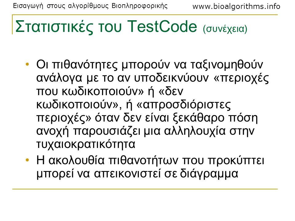 Στατιστικές του TestCode (συνέχεια)