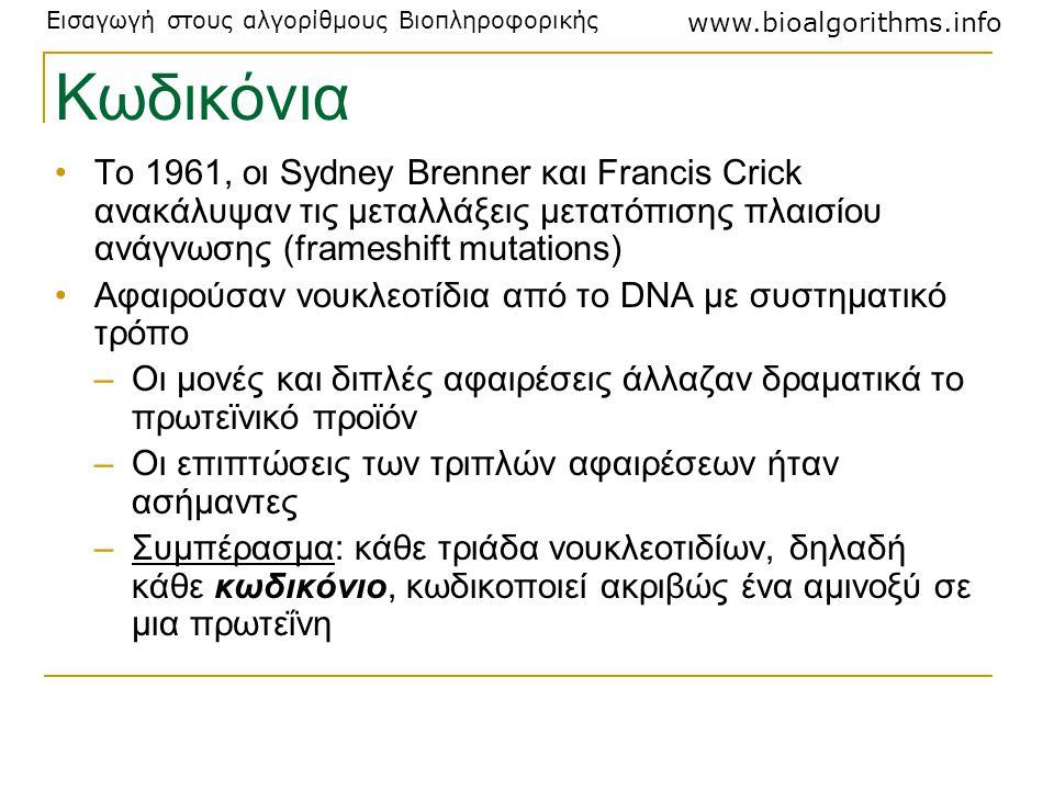 Κωδικόνια Το 1961, οι Sydney Brenner και Francis Crick ανακάλυψαν τις μεταλλάξεις μετατόπισης πλαισίου ανάγνωσης (frameshift mutations)