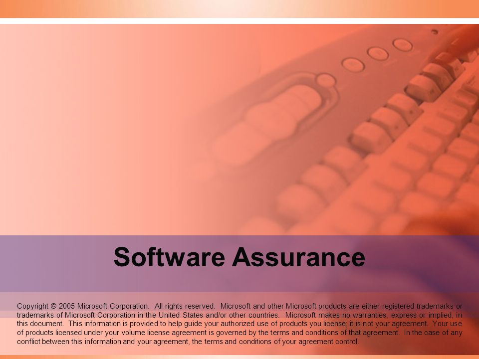 Speaker Notes: Welcome to the Software Assurance seminar. Software Assurance.