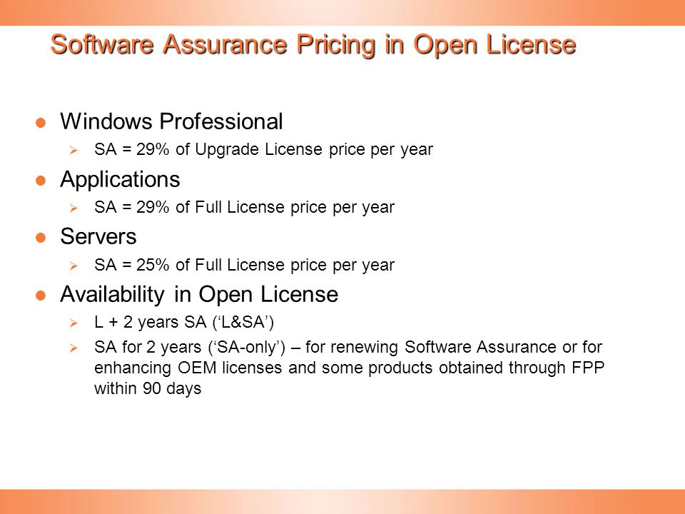 Software Assurance Pricing in Open License