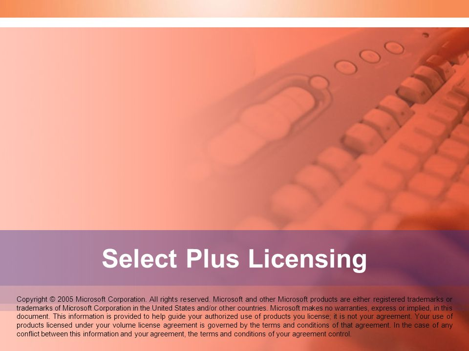 Speaker Notes: Welcome to the Select Licensing seminar. Select Plus Licensing.