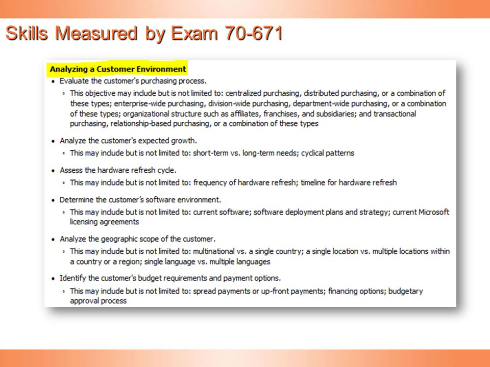 Skills Measured by Exam 70-671