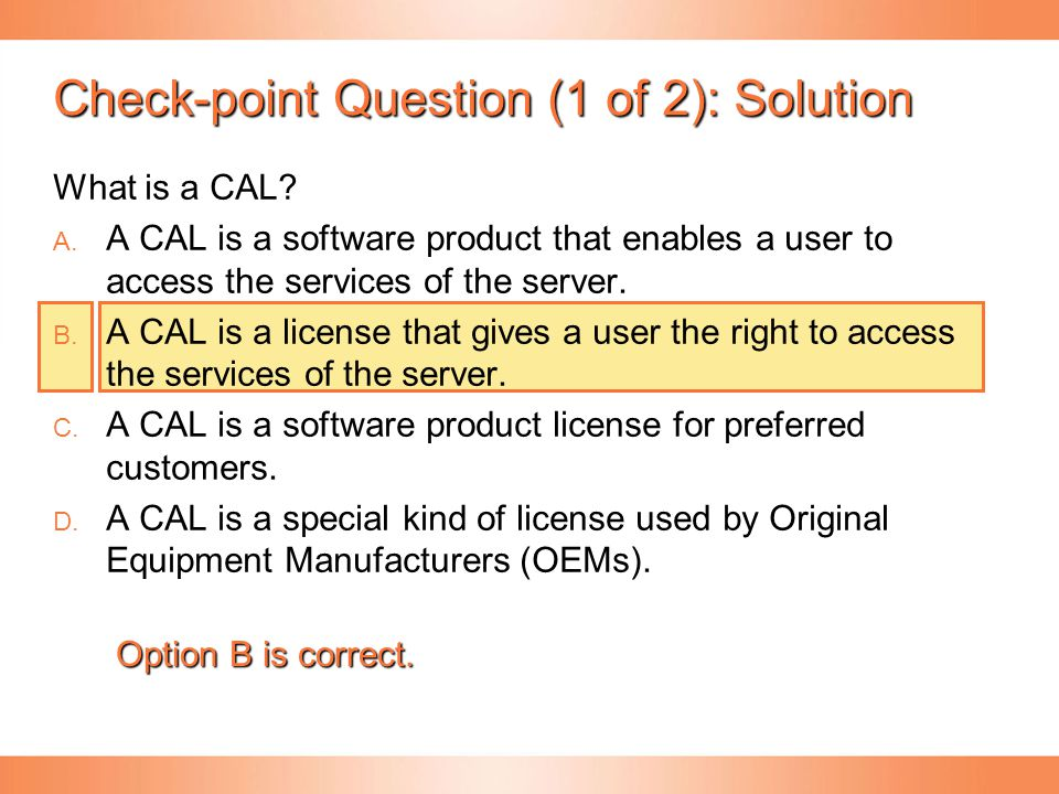 Check-point Question (1 of 2): Solution