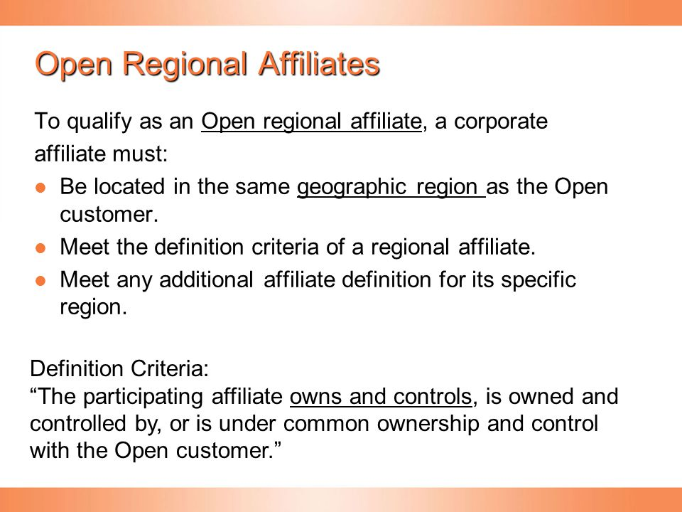 Open Regional Affiliates