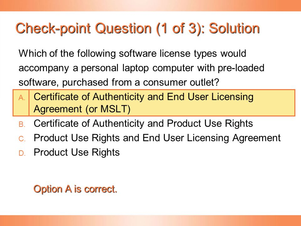 Check-point Question (1 of 3): Solution