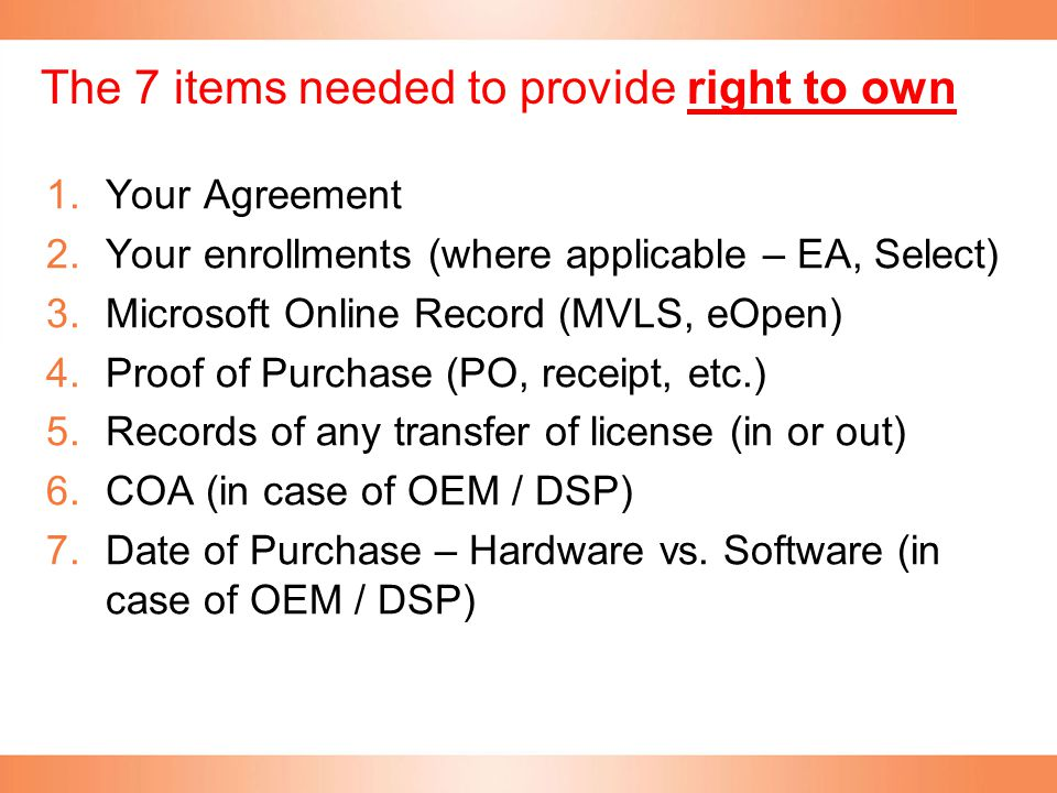 The 7 items needed to provide right to own