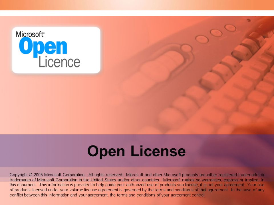 Speaker Notes: Welcome to the Open Business and Open Volume seminar. Open License.