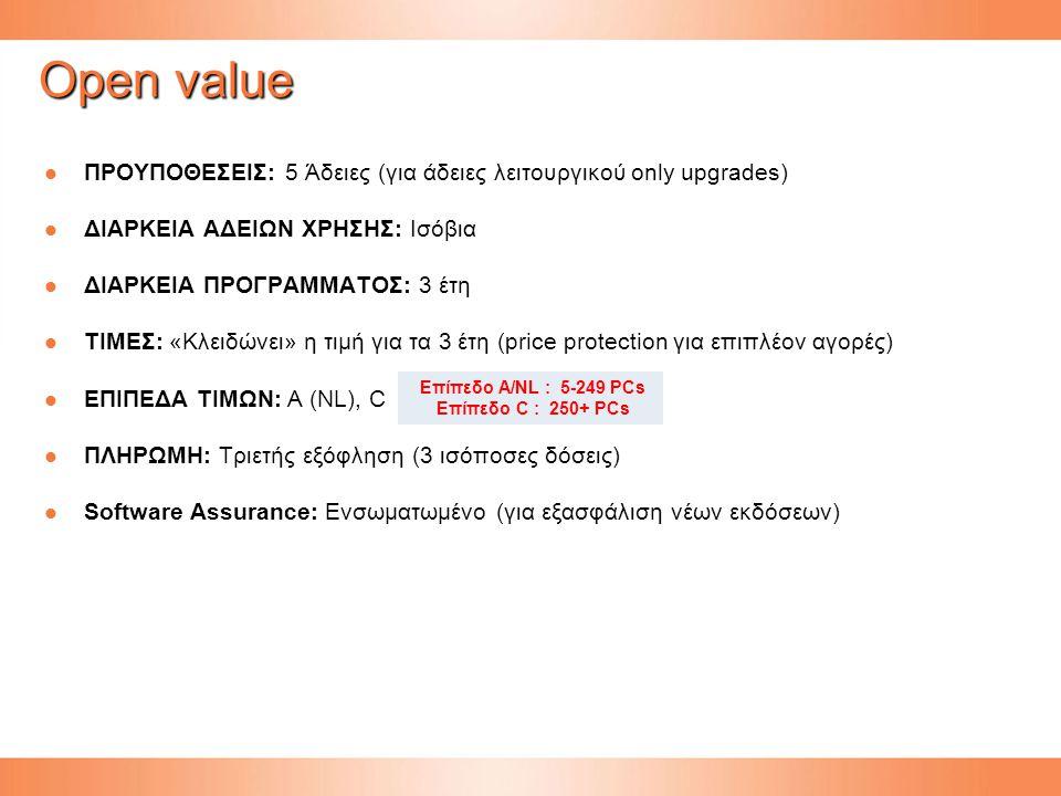 Open value ΠΡΟΥΠΟΘΕΣΕΙΣ: 5 Άδειες (για άδειες λειτουργικού only upgrades) ΔΙΑΡΚΕΙΑ ΑΔΕΙΩΝ ΧΡΗΣΗΣ: Ισόβια.