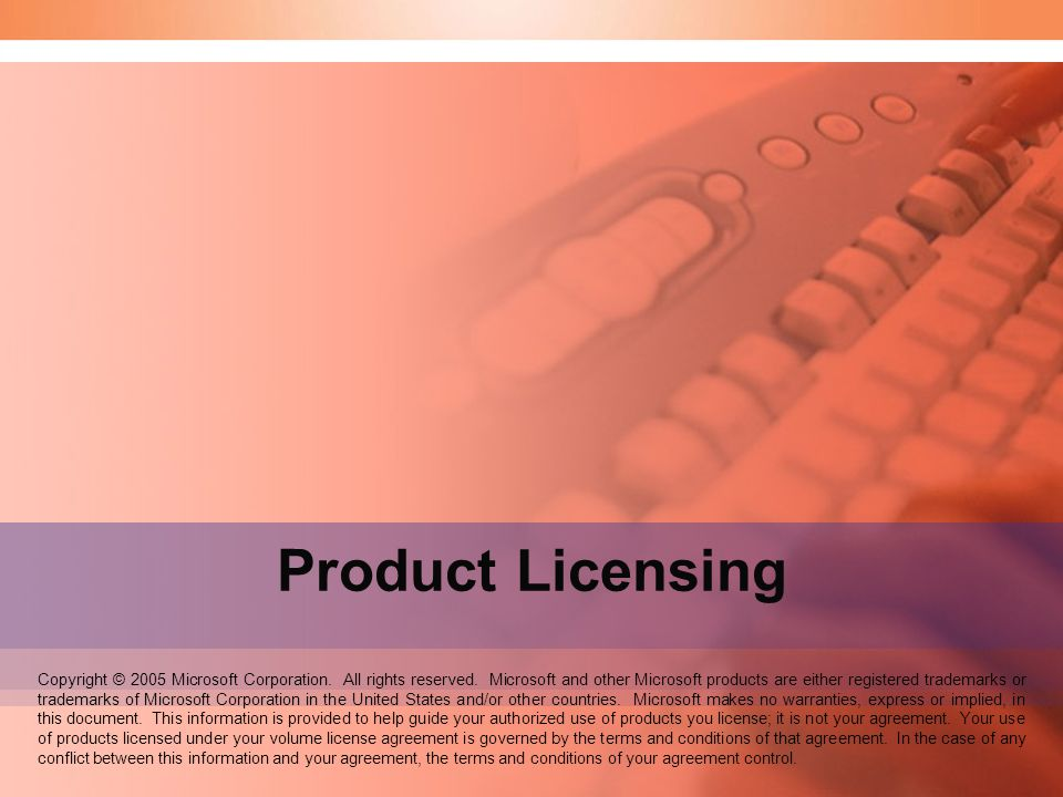 Speaker Notes: Welcome to the Product Licensing seminar. Product Licensing.