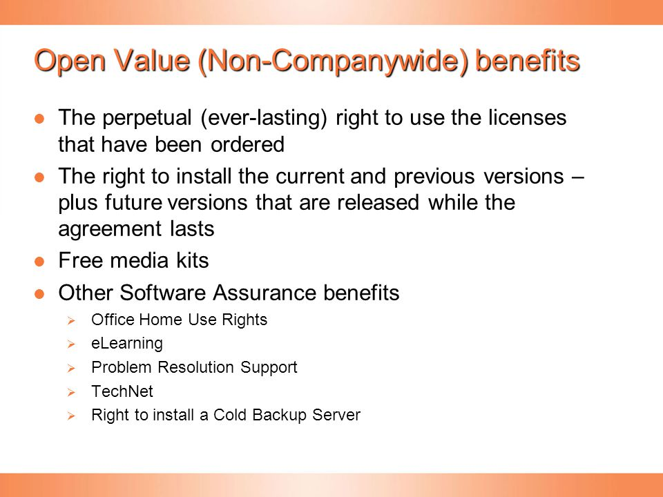 Open Value (Non-Companywide) benefits
