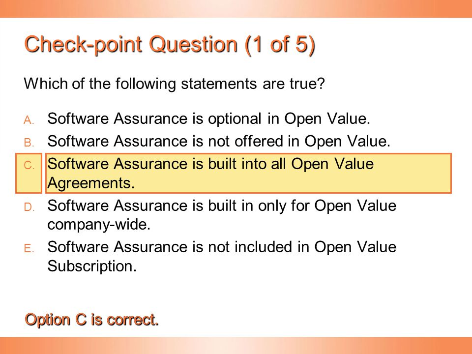 Check-point Question (1 of 5)