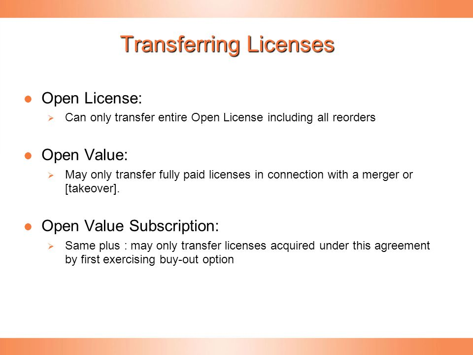 Transferring Licenses