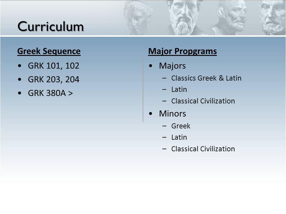 Curriculum Greek Sequence Major Propgrams GRK 101, 102 GRK 203, 204