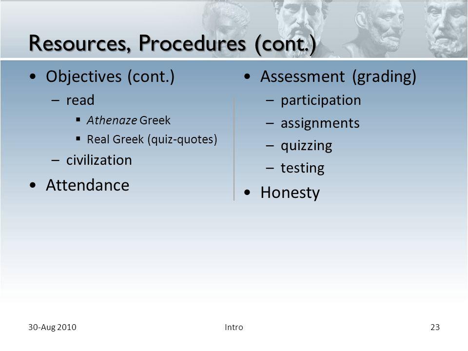 Resources, Procedures (cont.)