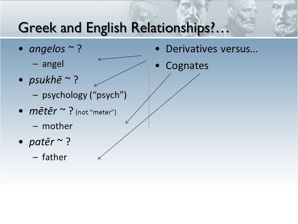 Greek and English Relationships …