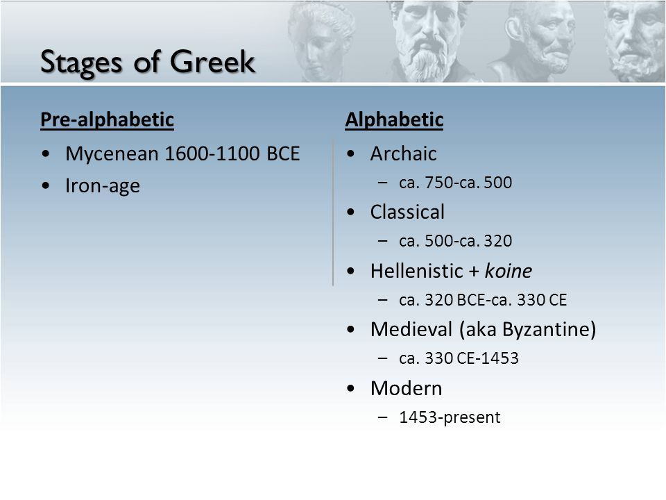 Stages of Greek Pre-alphabetic Alphabetic Mycenean 1600-1100 BCE