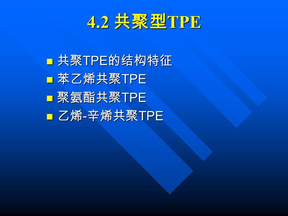 4.2 共聚型TPE 共聚TPE的结构特征 苯乙烯共聚TPE 聚氨酯共聚TPE 乙烯-辛烯共聚TPE
