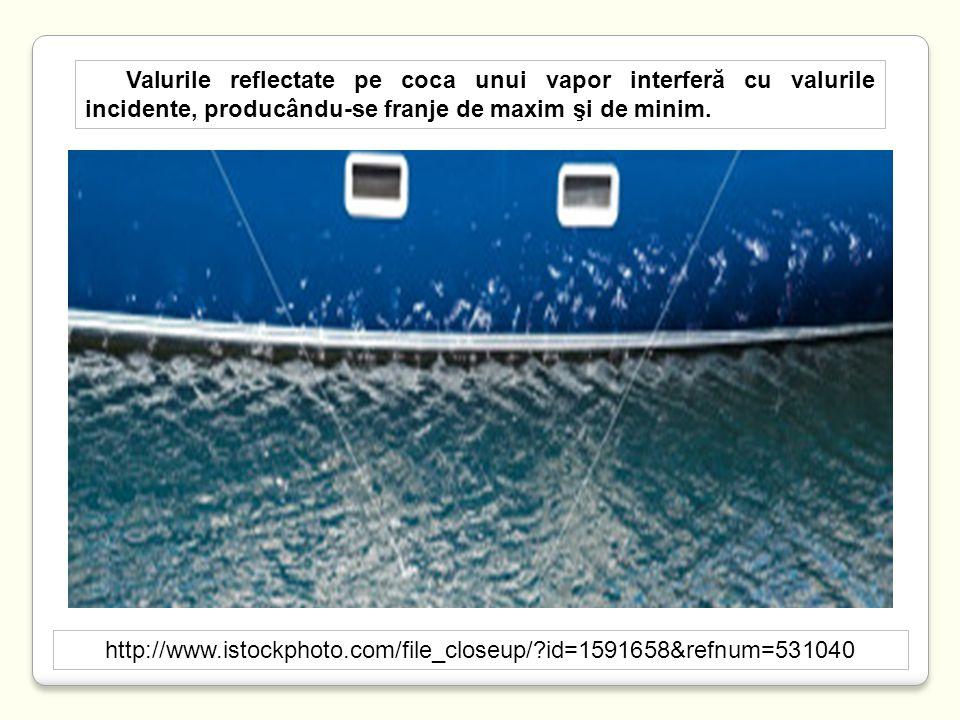 Valurile reflectate pe coca unui vapor interferă cu valurile incidente, producându-se franje de maxim şi de minim.