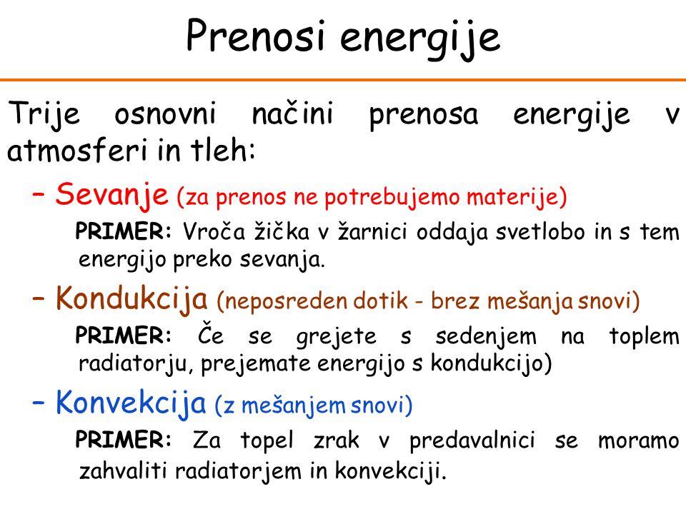 Prenosi energije Trije osnovni načini prenosa energije v atmosferi in tleh: Sevanje (za prenos ne potrebujemo materije)