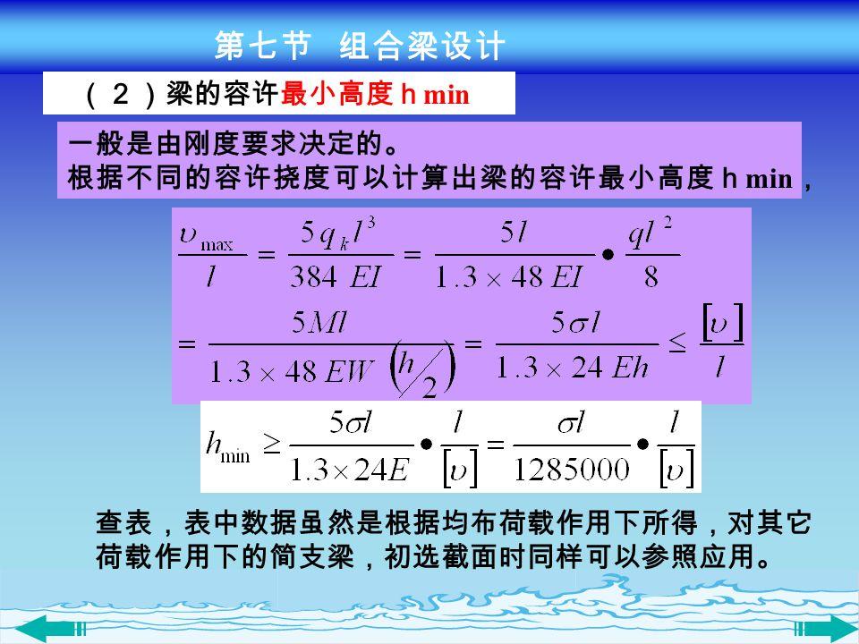 第七节 组合梁设计 (2)梁的容许最小高度hmin 一般是由刚度要求决定的。 根据不同的容许挠度可以计算出梁的容许最小高度hmin, 查表,表中数据虽然是根据均布荷载作用下所得,对其它.