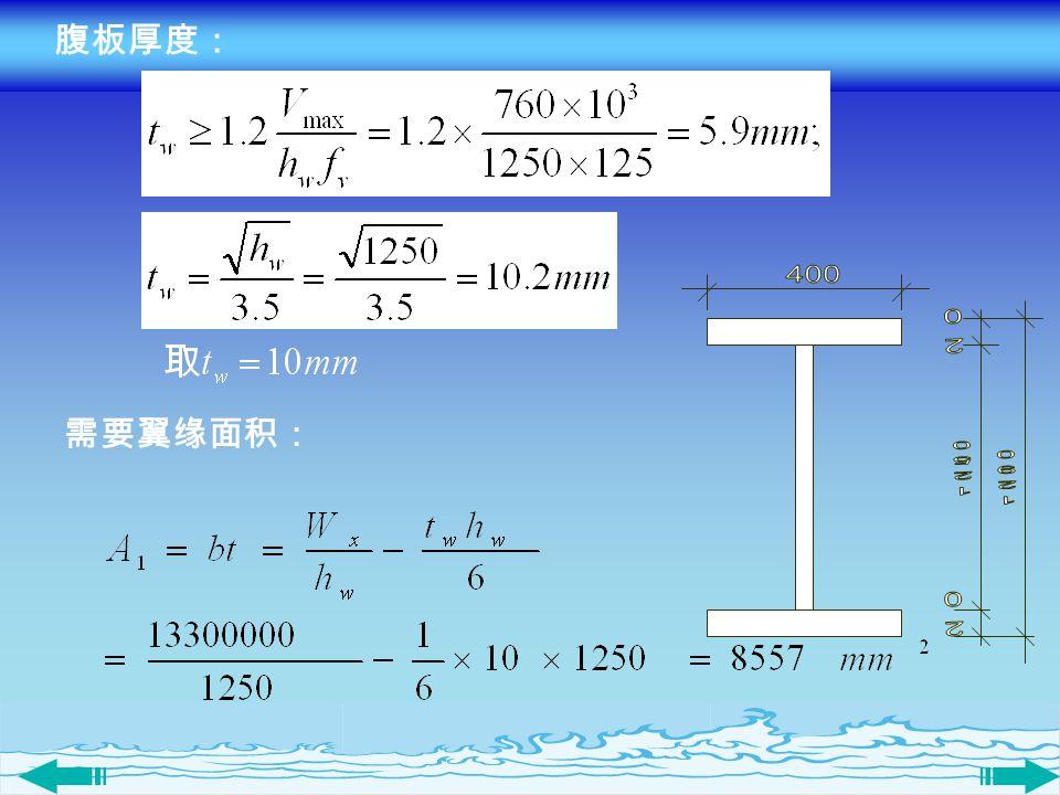 腹板厚度: 400 1250 1290 20 需要翼缘面积: