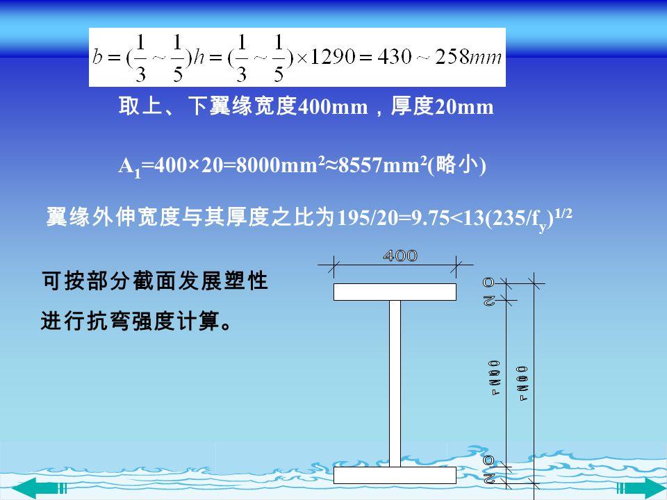 翼缘外伸宽度与其厚度之比为195/20=9.75<13(235/fy)1/2