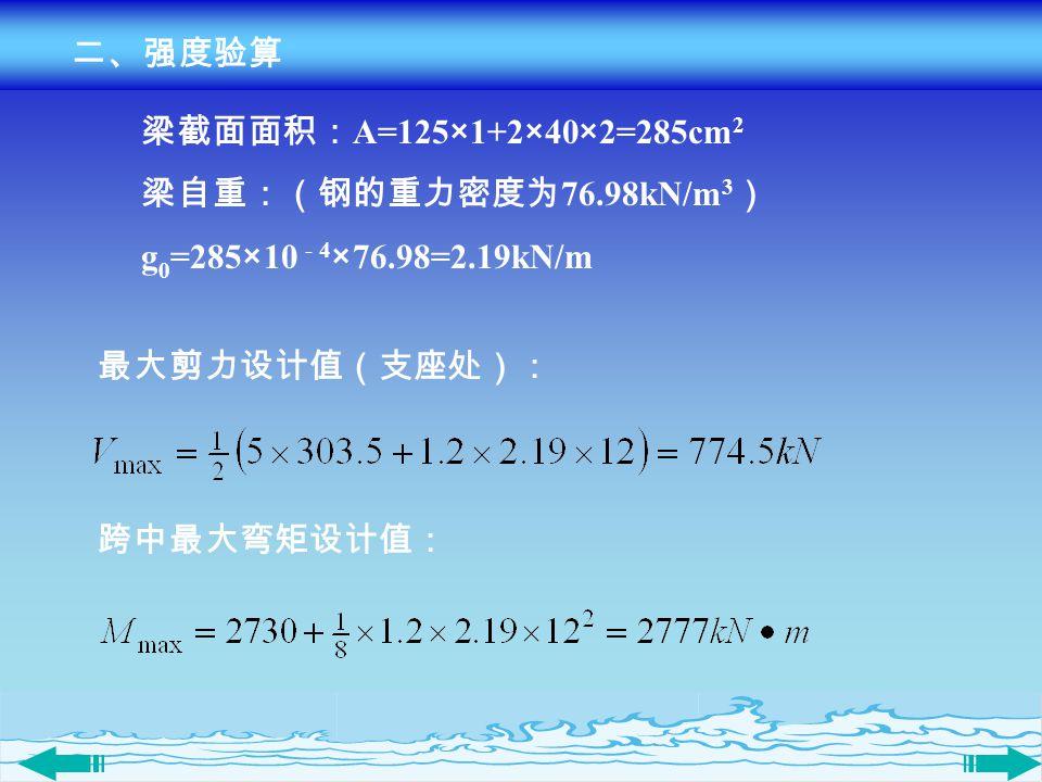 二、强度验算 梁截面面积:A=125×1+2×40×2=285cm2. 梁自重:(钢的重力密度为76.98kN/m3) g0=285×10 - 4×76.98=2.19kN/m. 最大剪力设计值(支座处):