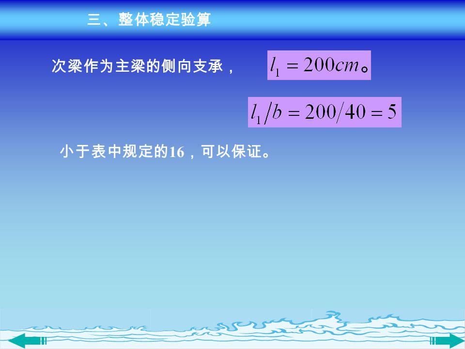 三、整体稳定验算 次梁作为主梁的侧向支承, 小于表中规定的16,可以保证。