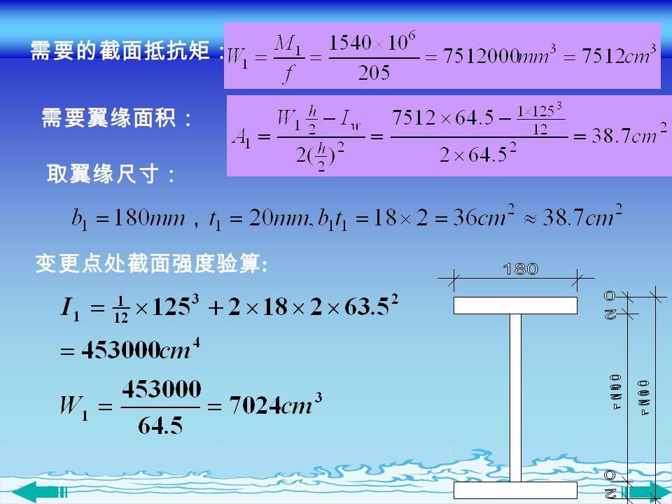 需要的截面抵抗矩: 需要翼缘面积: 取翼缘尺寸: 变更点处截面强度验算: 180 1250 1290 20