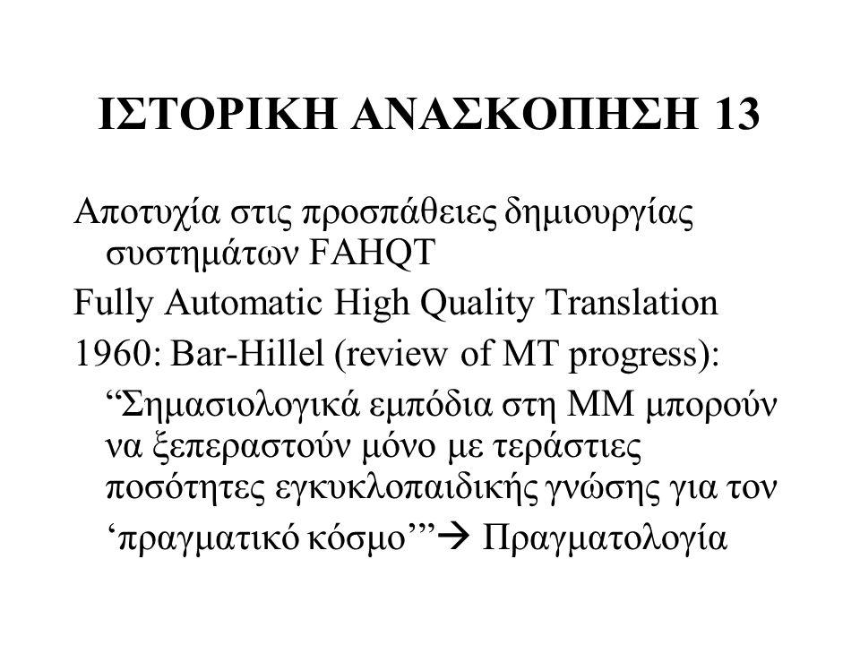 ΙΣΤΟΡΙΚΗ ΑΝΑΣΚΟΠΗΣΗ 13 Αποτυχία στις προσπάθειες δημιουργίας συστημάτων FAHQT. Fully Automatic High Quality Translation.