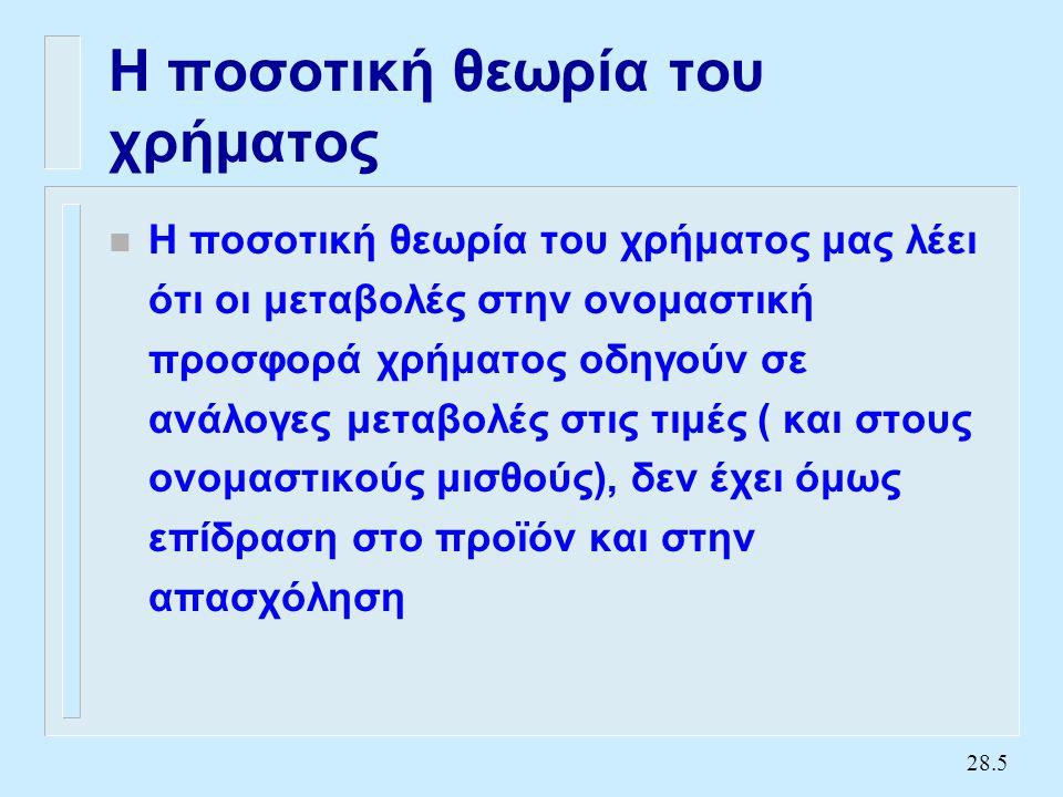 Η ποσοτική θεωρία (συνέχεια) (2)