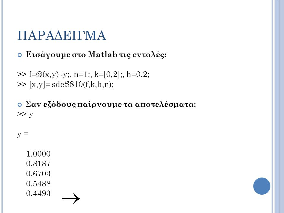 ΠΑΡΑΔΕΙΓΜΑ Εισάγουμε στο Matlab τις εντολές: