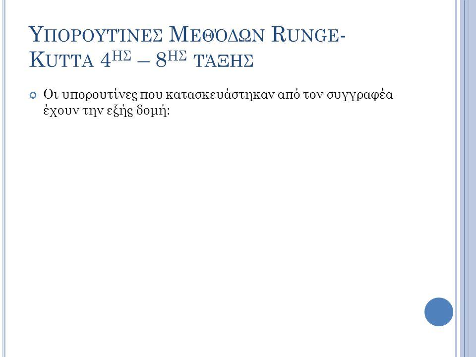 Υπορουτίνες Μεθόδων Runge-Kutta 4ης – 8ης τάξης