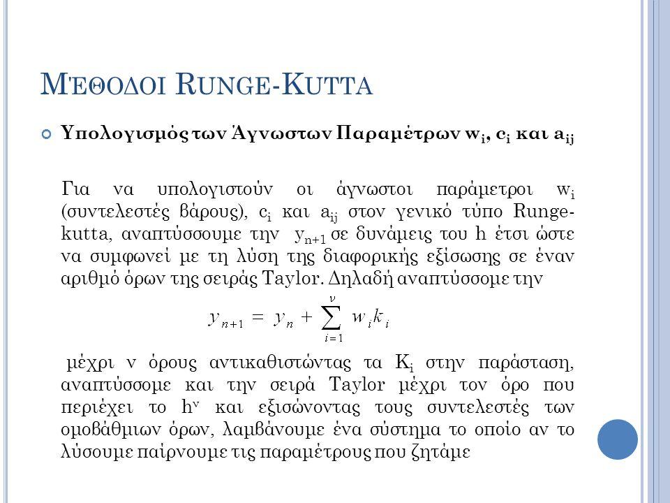 Μέθοδοι Runge-Kutta Υπολογισμός των Άγνωστων Παραμέτρων wi, ci και aij