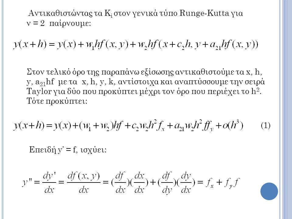 Αντικαθιστώντας τα Ki στον γενικά τύπο Runge-Kutta για ν = 2 παίρνουμε: