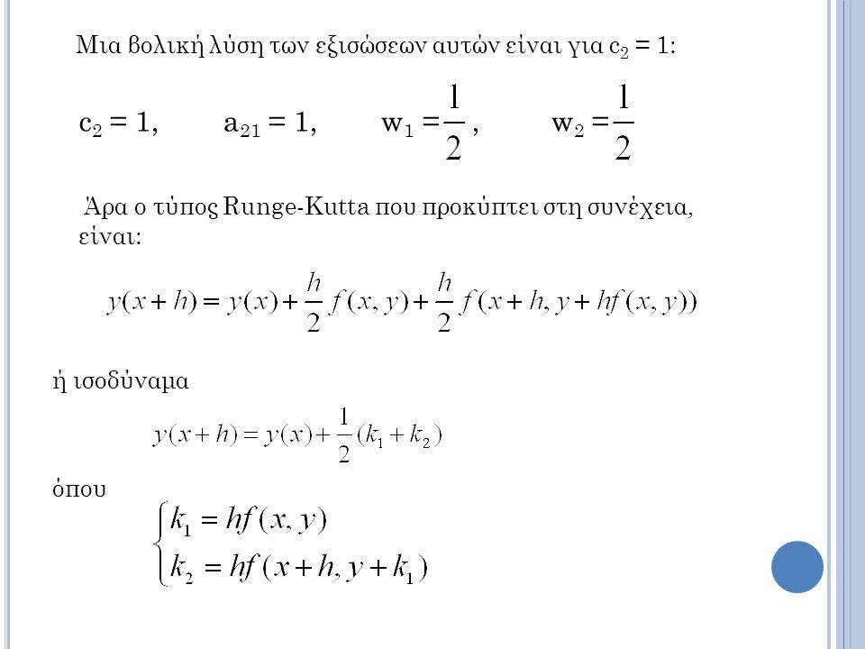Μια βολική λύση των εξισώσεων αυτών είναι για c2 = 1: