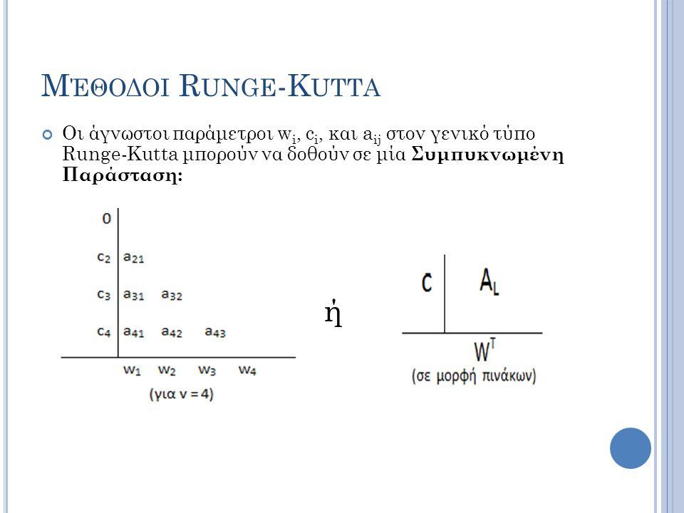 Μέθοδοι Runge-Kutta Οι άγνωστοι παράμετροι wi, ci, και aij στον γενικό τύπο Runge-Kutta μπορούν να δοθούν σε μία Συμπυκνωμένη Παράσταση: