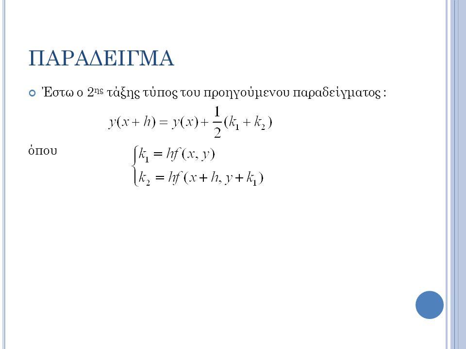 ΠΑΡΑΔΕΙΓΜΑ Έστω ο 2ης τάξης τύπος του προηγούμενου παραδείγματος :