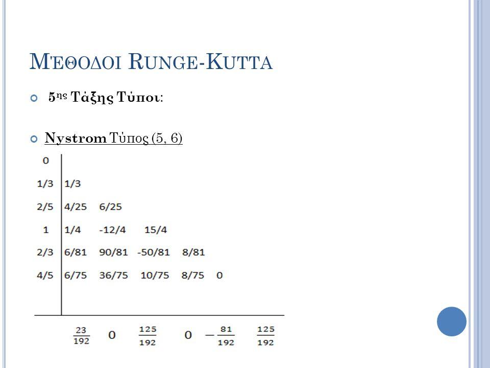 Μέθοδοι Runge-Kutta 5ης Τάξης Τύποι: Nystrom Τύπος (5, 6)