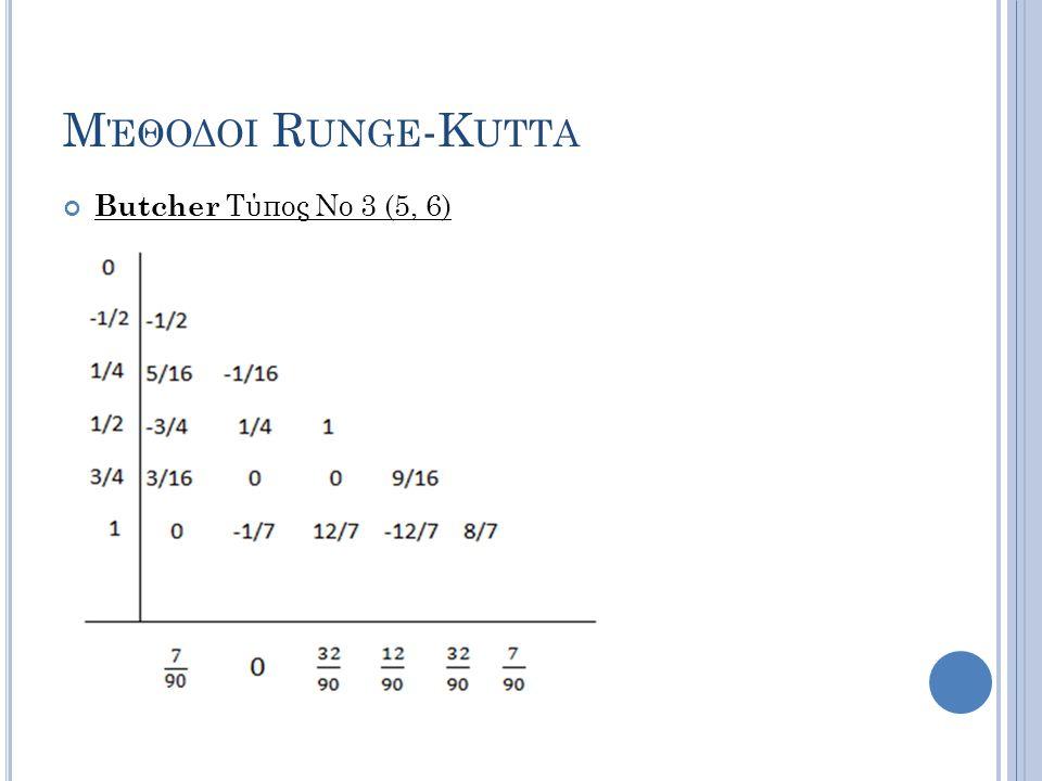 Μέθοδοι Runge-Kutta Butcher Τύπος Νο 3 (5, 6)