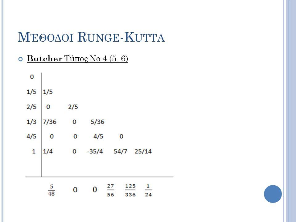 Μέθοδοι Runge-Kutta Butcher Τύπος Νο 4 (5, 6)