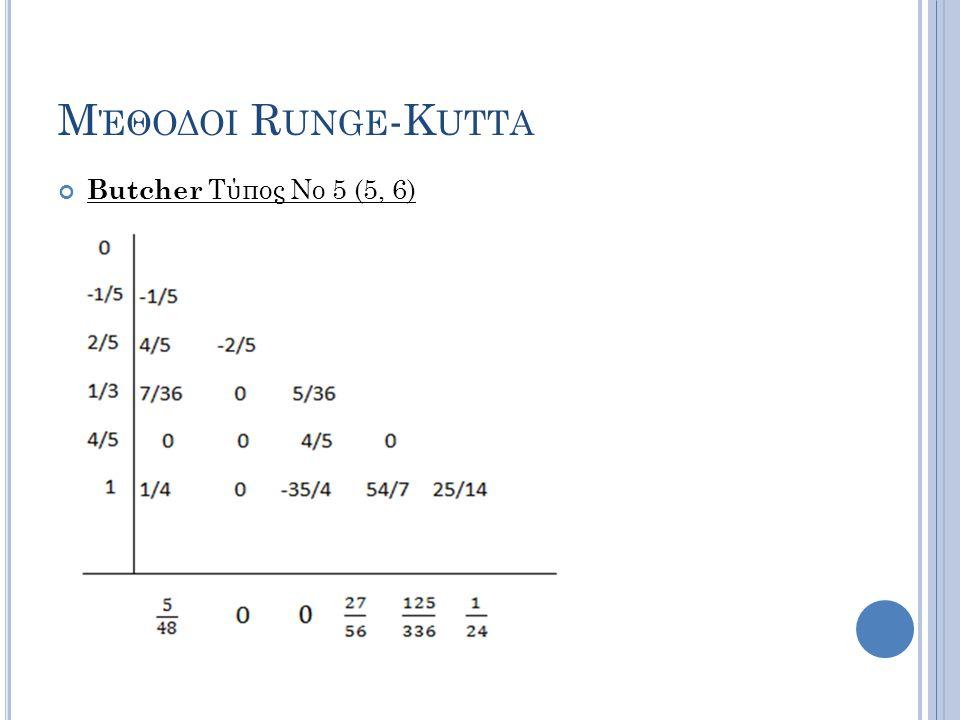 Μέθοδοι Runge-Kutta Butcher Τύπος Νο 5 (5, 6)